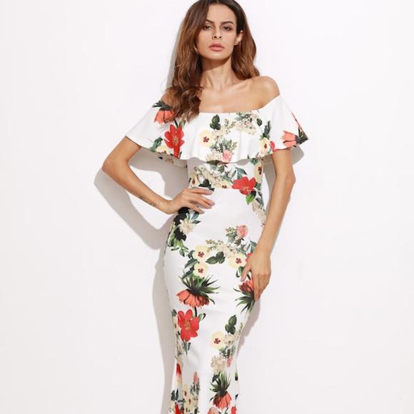961a5d8071 SHEIN Dresses | Flounce Layered Neckline Florals Slit Back Fishtai ...